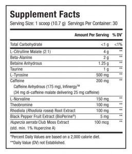 Upshift Blueberry Lemonade Supp Facts
