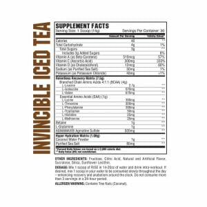 Rise BCAA Invincible Iced Tea Supp Facts