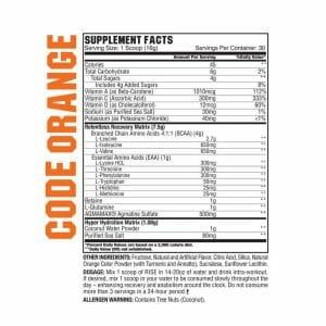 Rise BCAA Orange supp facts