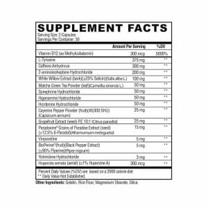 Arsyn Fat Burner Supp Facts
