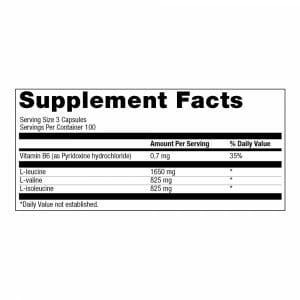 BCAA Mega Caps 1100 Supp Facts
