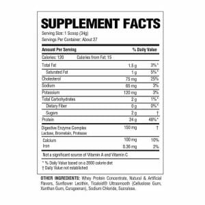 Commissary Whey Protein Supp Facts