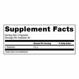 Glutamine Mega Caps 1400 Supp Facts