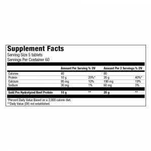 Gold Beef Pro Mega Tabs Supp Facts