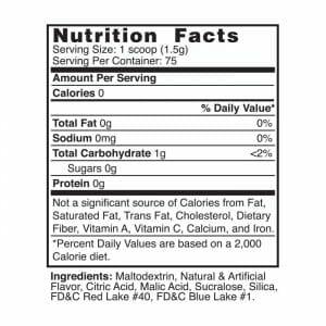 Grape Flavor Mix Nutrition Facts