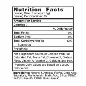 Limeade Flavor Mix Nutrition Facts