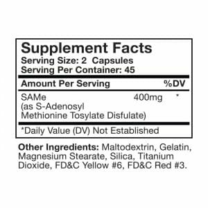SAMe Capsules Supp Facts