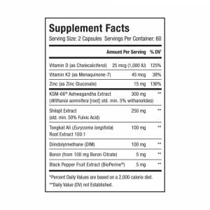TRUE-T Testosterone Support Supp Facts