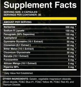 Carb Fix Supp Facts