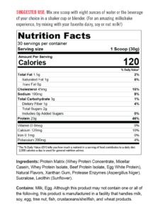 Protein Powder Vanilla Supp Facts