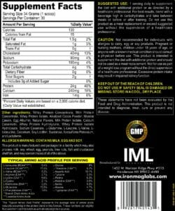 Complete Protein Chocolate Supp Facts