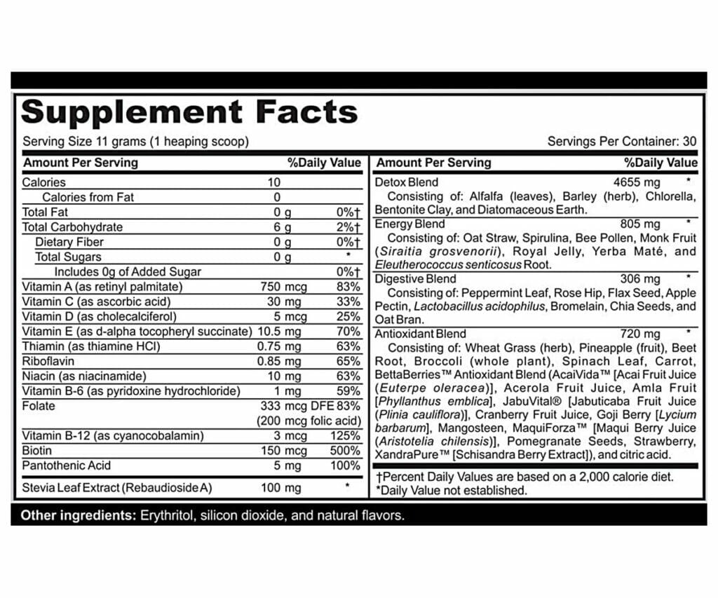 Muscle Greens Supp Facts