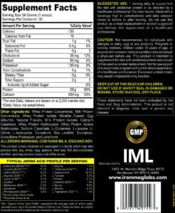 Complete Protein Vanilla Supp Facts