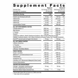 All Out Sweat Edition - Supplement Facts