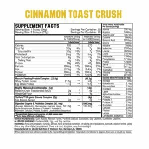 Feast Complete Protein - Cinnamon Toast Crush Supp Facts