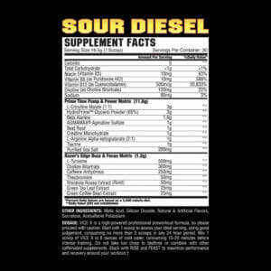 VICE X Sour Diesel Supp Facts