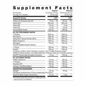 All Out Ultra Edition - Supplement Facts
